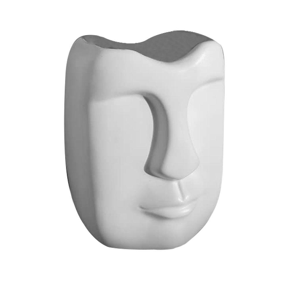 Vaso Decorativo Em Cerâmica Branco Fosco 17 cm - D'Rossi