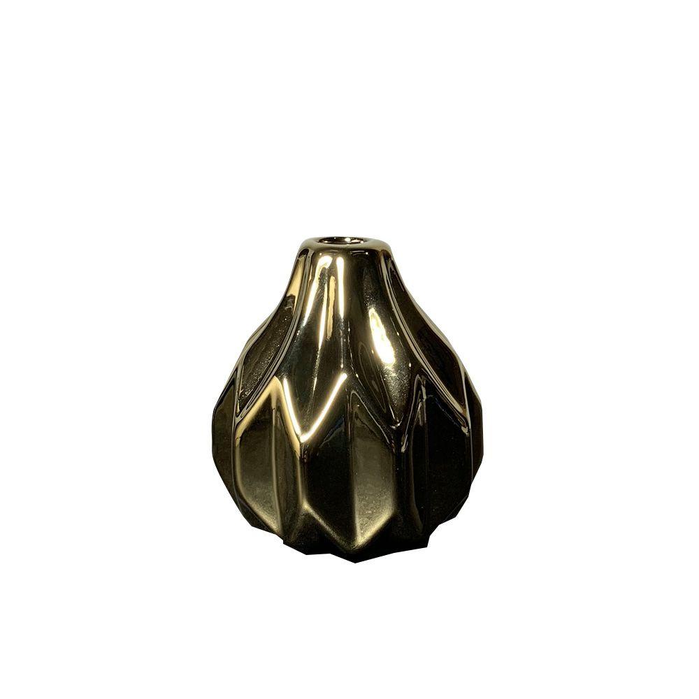 Vaso Decorativo em Cerâmica Dourado 7,5X7cm - D'Rossi