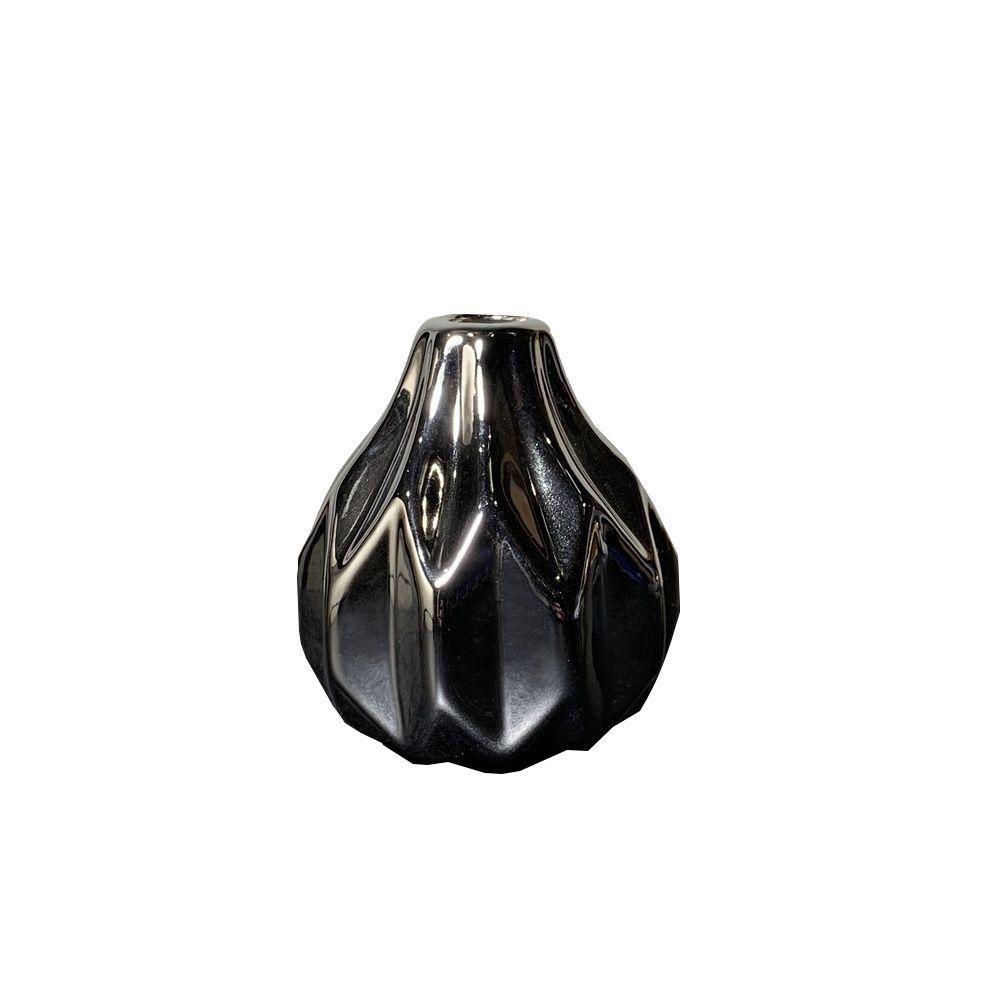 Vaso Decorativo em Cerâmica Prata 7,5X7cm - D'Rossi