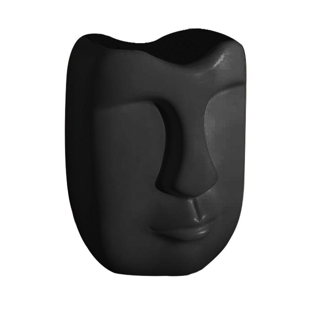 Vaso Decorativo Em Cerâmica Preto Fosco 13 cm - D'Rossi