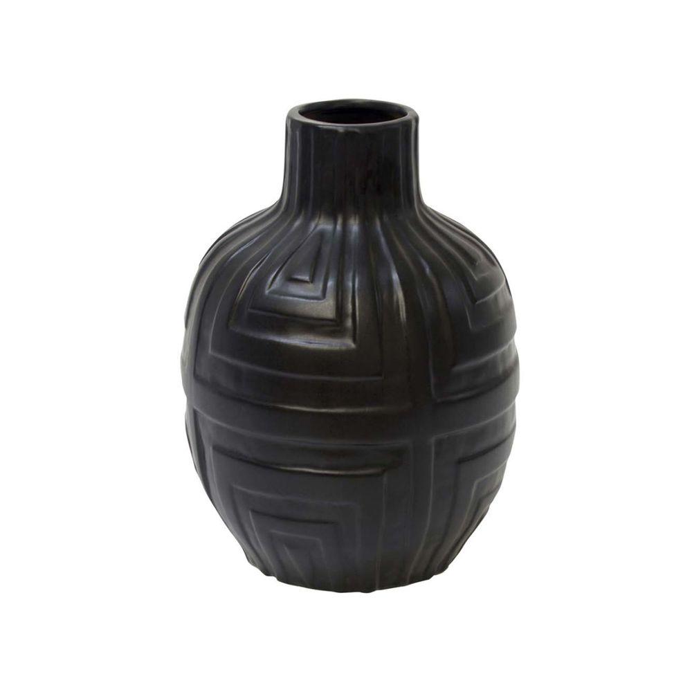 Vaso Decorativo Em Cerâmica Preto Fosco 20 cm - D'Rossi