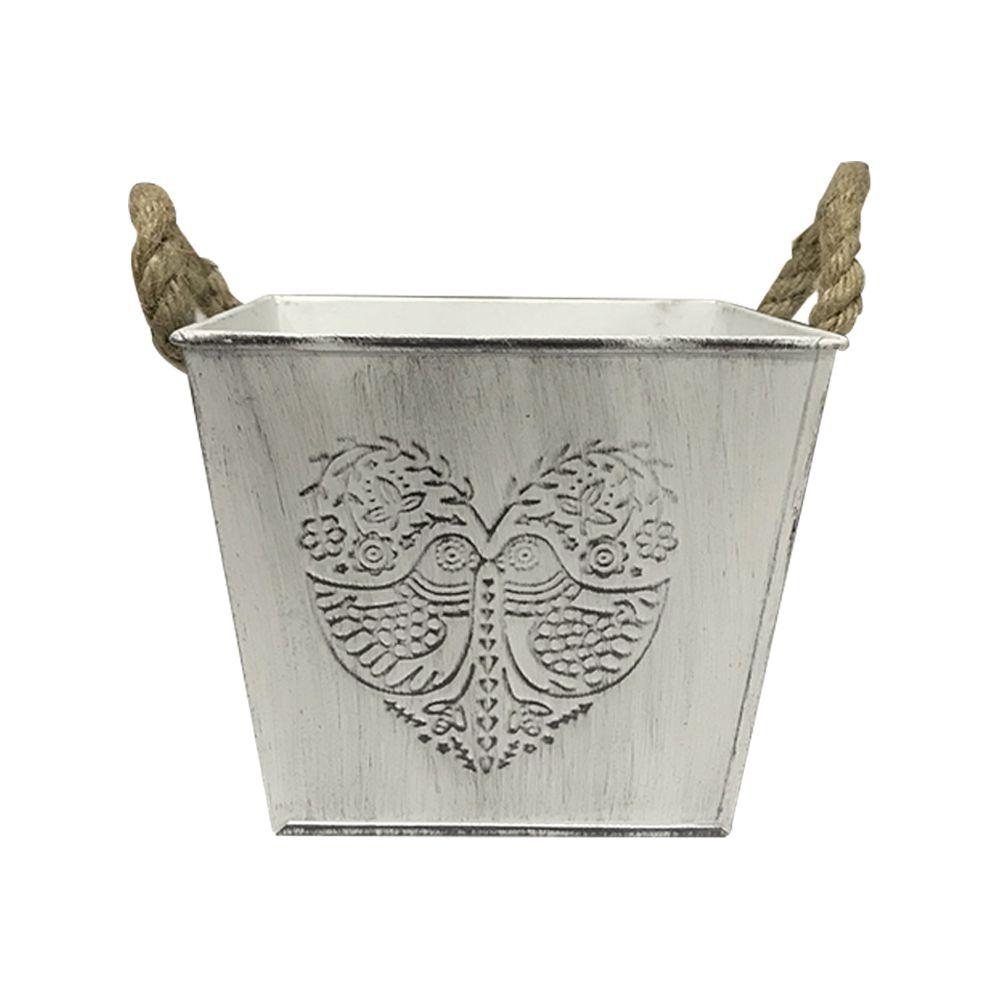 Vaso Decorativo Em Metal Branco 12cm - D'Rossi