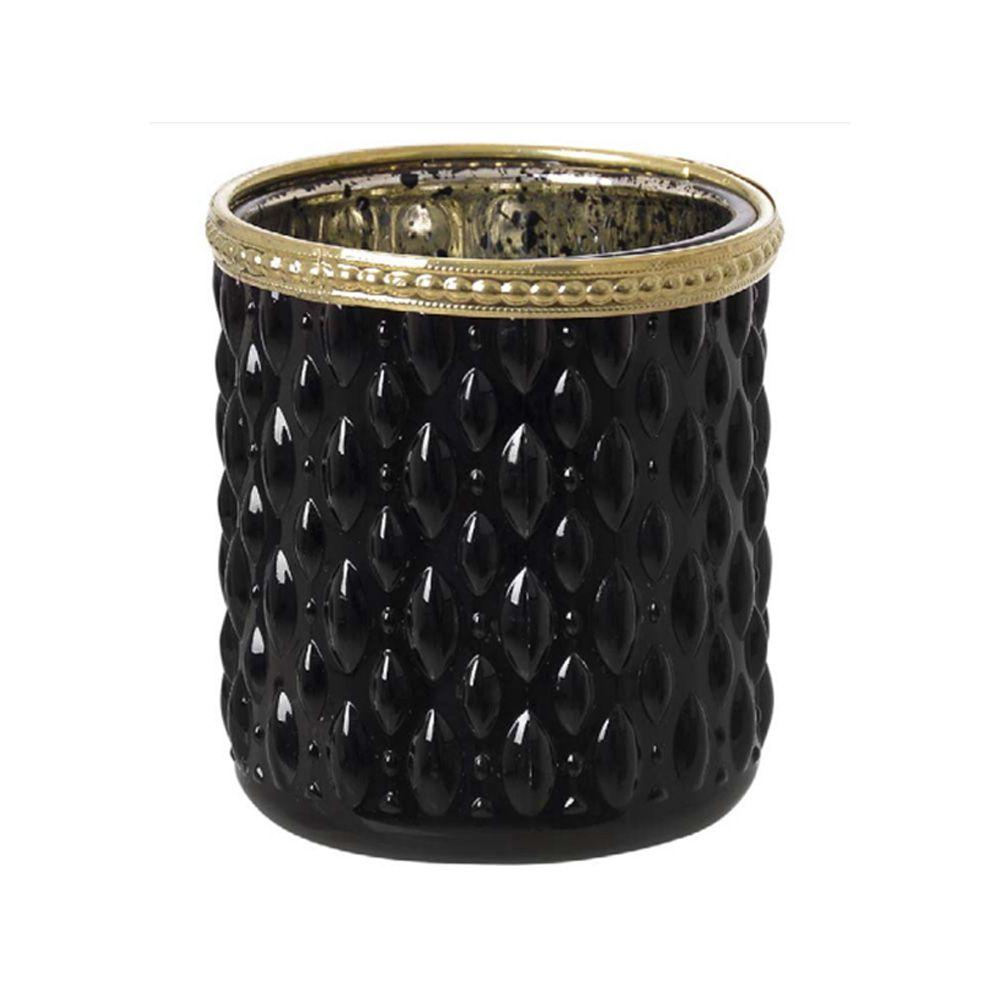 Vaso Decorativo em Vidro Preto e Dourado 9X8X8cm - D'Rossi