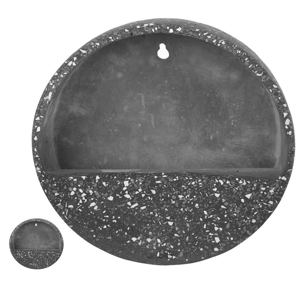 Vaso Decorativo Para Parede em Cimento Cinza Escuro com Branco D'Rossi