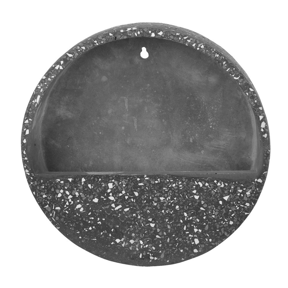 Vaso Decorativo Para Parede em Cimento Cinza Escuro com Branco 30x6 cm D'Rossi