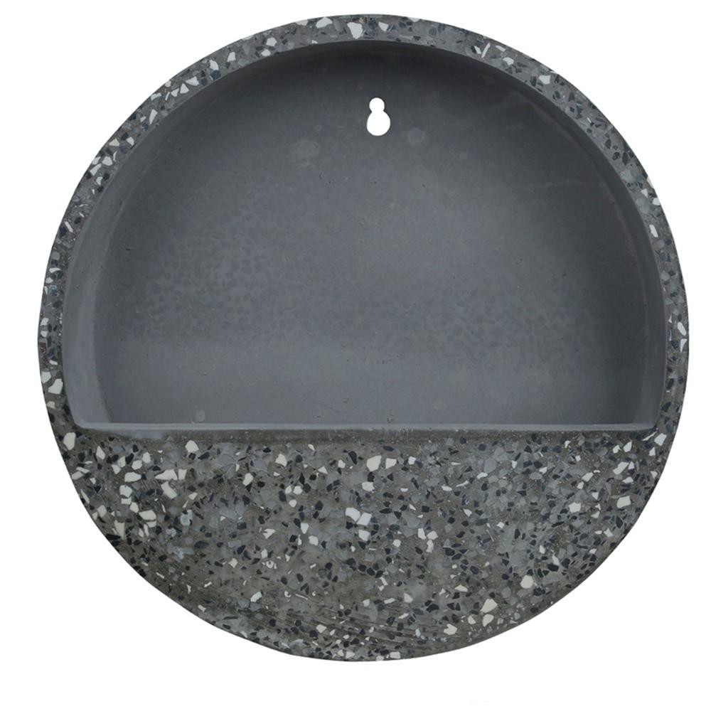 Vaso Decorativo Para Parede em Cimento Cinza Escuro com Preto 30x6 cm D'Rossi