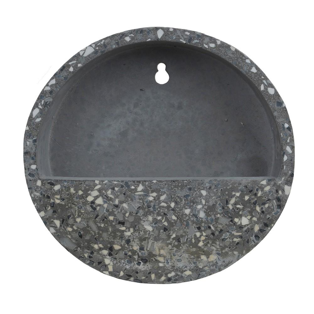Vaso Decorativo Para Parede em Cimento Cinza Escuro com Preto D'Rossi