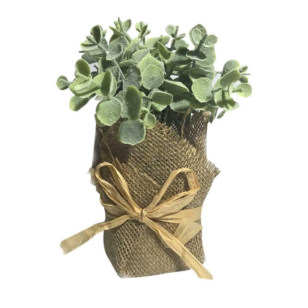 Vaso Decorativo Planta Eucalipto Verde com Powder 16cm - D'Rossi