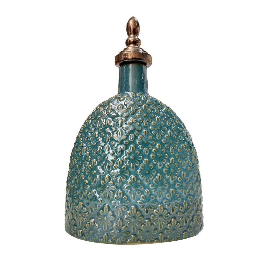 Vaso Decorativo Potiche Cerâmica Verde com Dourado 30x23 cm - D'Rossi