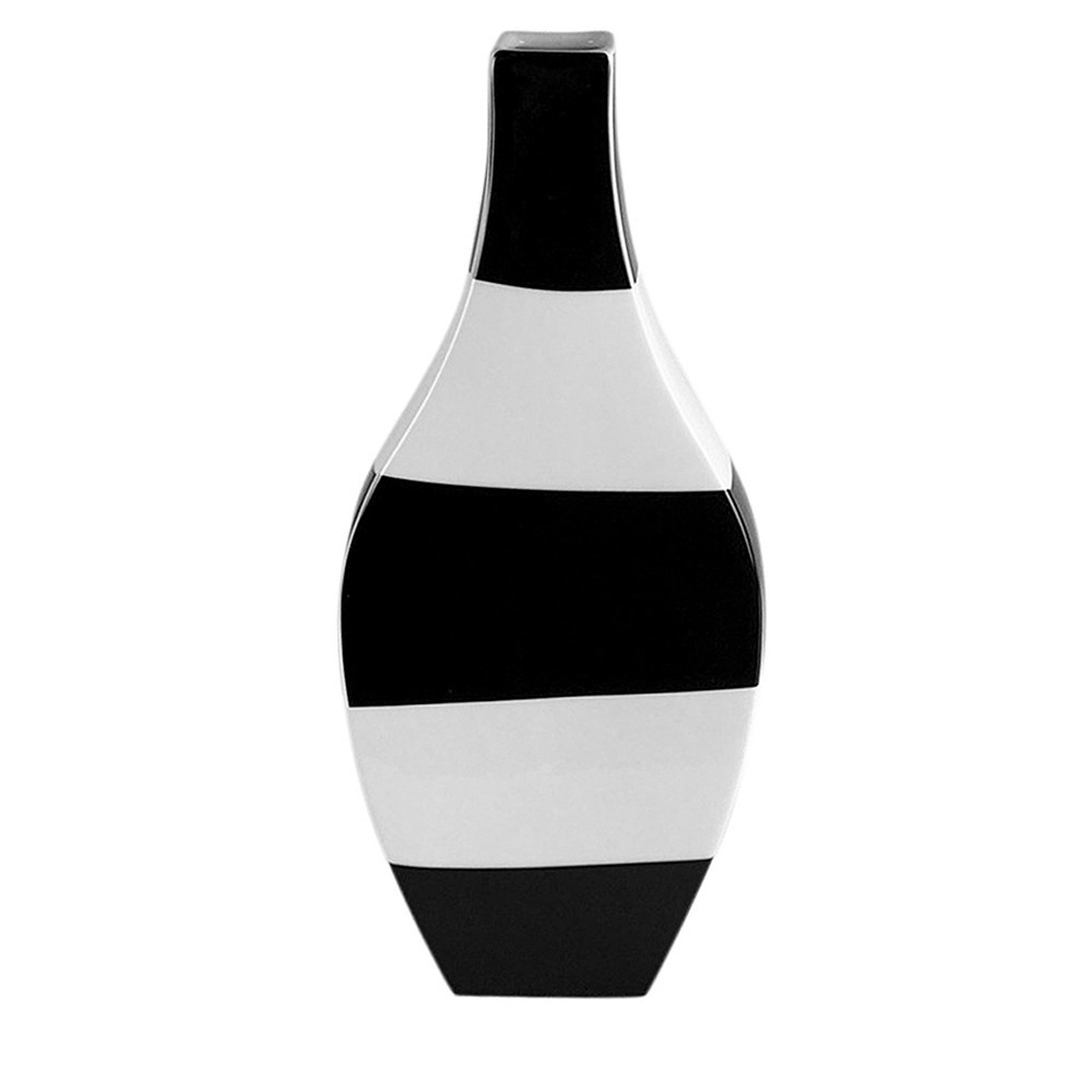 Vaso Decorativo Preto e Branco em Cerâmica 35 x 15 x 5,5 cm D'Rossi
