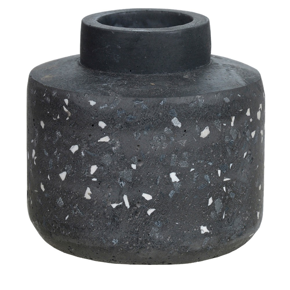 Vaso Decorativo Preto em Cimento 10,5 cm D'Rossi