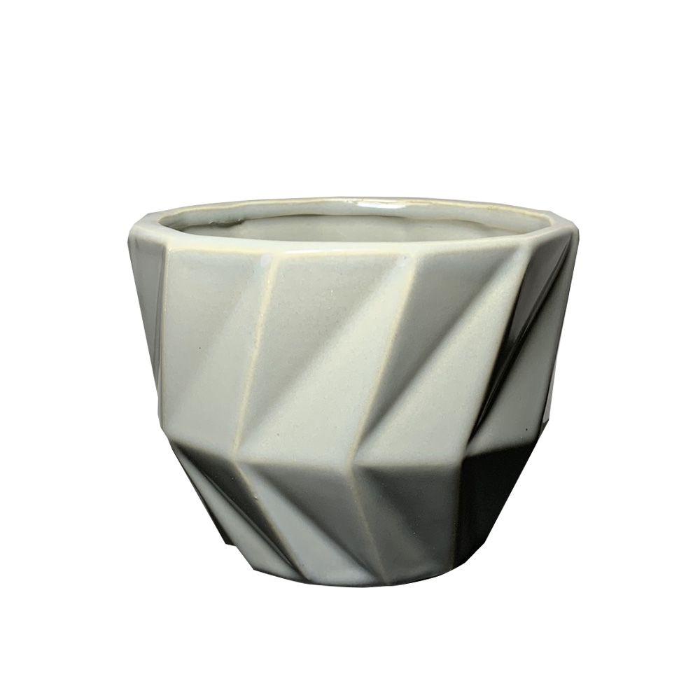 Vaso em Cerâmica Cinza 8,8cm - D'Rossi