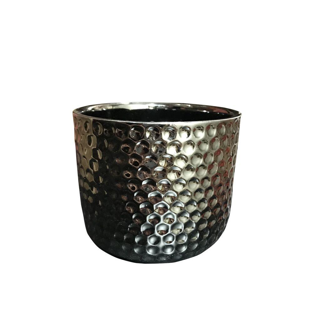 Vaso em Cerâmica Grafite 10cm - D'Rossi