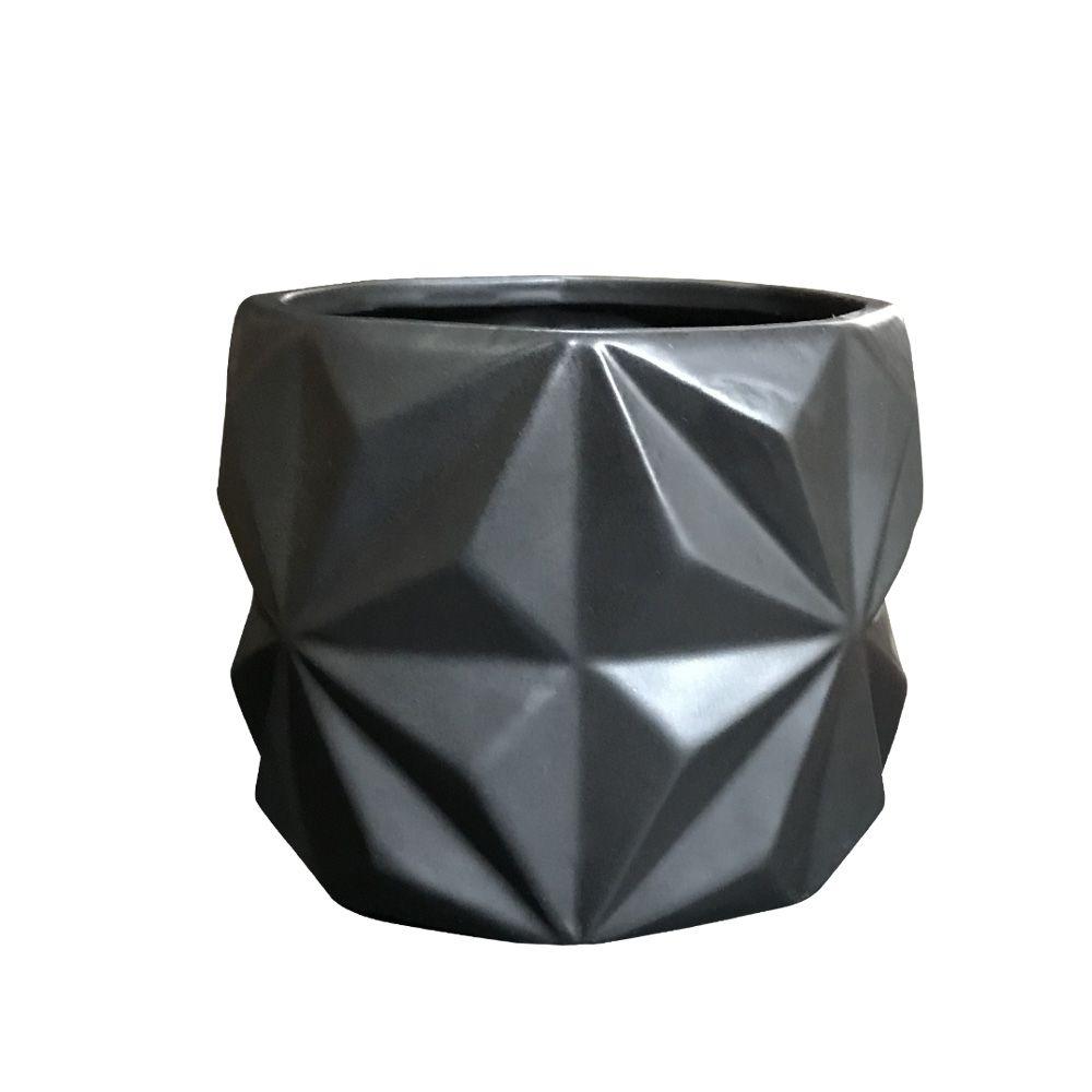 Vaso em Cerâmica Preto Fosco 11cm - D'Rossi