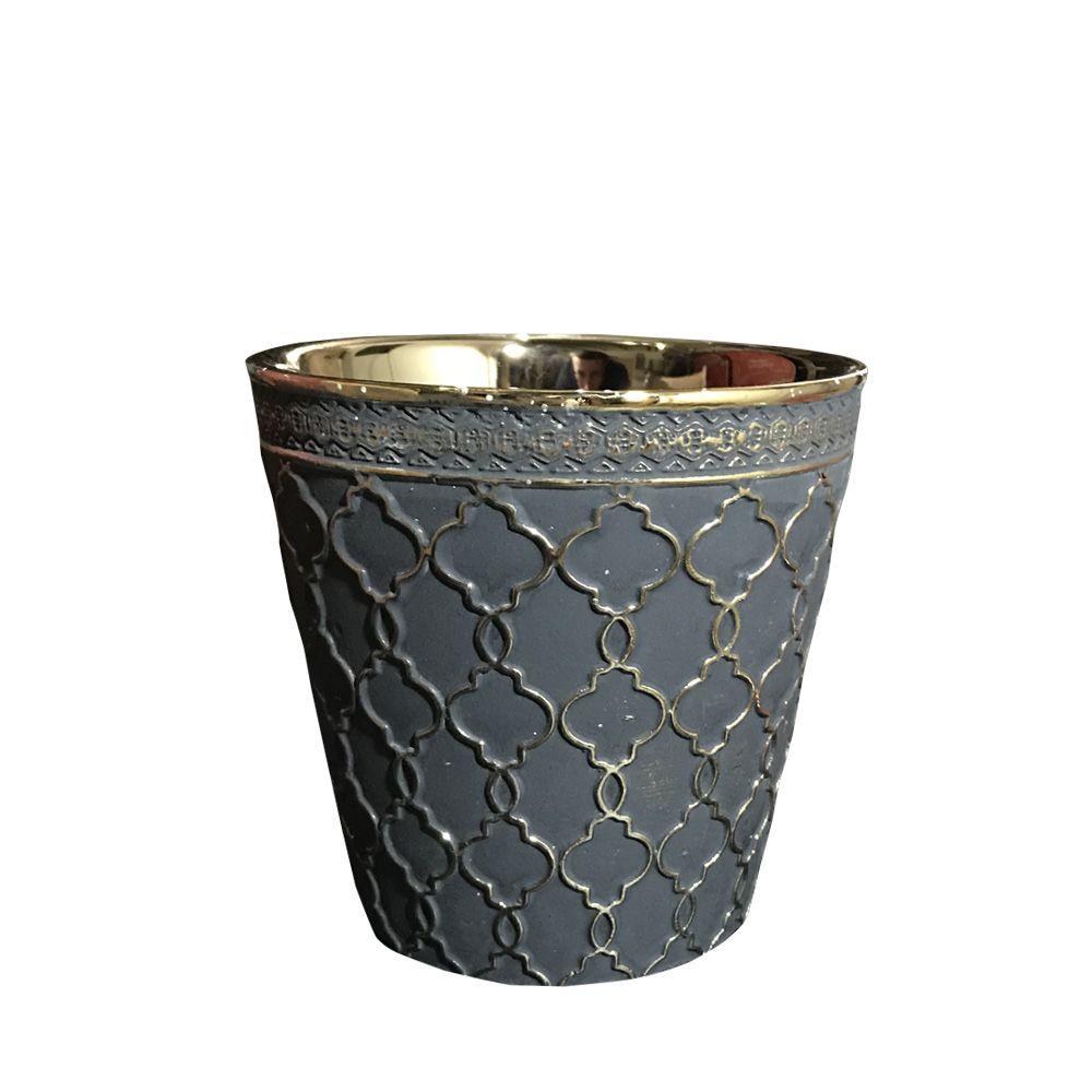 Vaso em Cerâmica Redondo Preto Dourado 13,5cm - D'Rossi