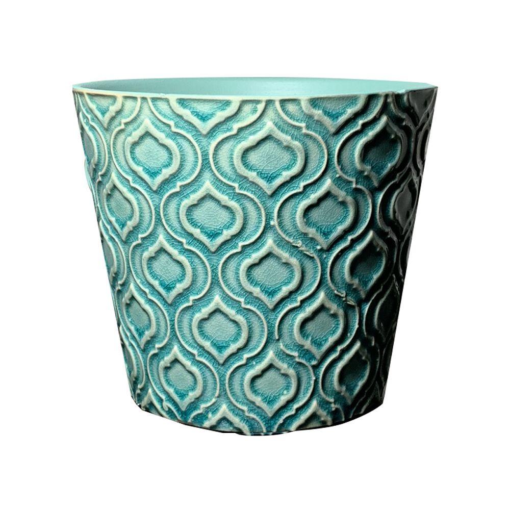 Vaso em Cerâmica Redondo Turquesa 9cm - D'Rossi