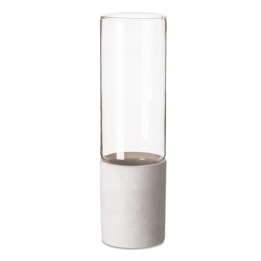 Vaso Decorativo em Vidro e Cimento Branco 31x9 cm - D'Rossi