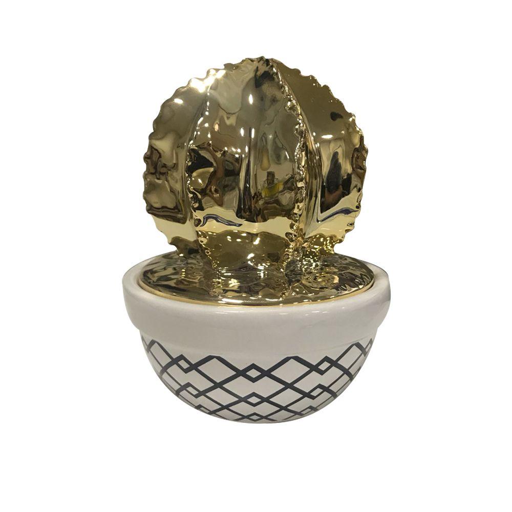 Vaso Pote Decorativo Cerâmica Branco com Dourado - D'Rossi