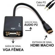 Cabo Conversor HDMI Macho p/ VGA Femea c/ Audio Exbom CC-HV100