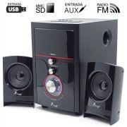 Caixa de Som com Bluetooth e Subwoofer 2.1 14 Watts Rms Usb/SD/Aux Knup KP-6002BH