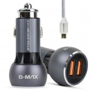Carregador Veicular Turbo Quick Charge 3.0 36w para Celular Micro Usb V8 B-Max BM8610