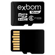 Cartão de Memória 16GB MicroSD Classe 6 Exbom STGD-TF16G
