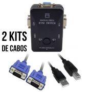 Chaveador Switch KVM 2 Portas USB KVM21UA + 2 Cabos USB AB 1,8m + 2 Cabos VGA 1,8m