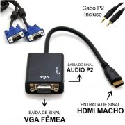 Conversor HDMI Macho p/ VGA Fêmea c/ Áudio CC-HV100 + Cabo VGA 1,8 metros c/ filtro Macho x Macho
