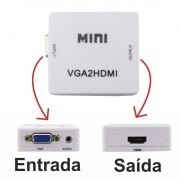Conversor VGA c/ Áudio P2 p/ Hdmi VGA2HDMI