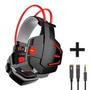 Headset Gamer com Microfone e LEDs Coloridos Infokit GH-X20 com Adaptador P3 x P2