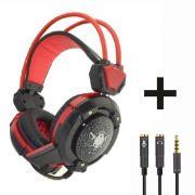 Headset Gamer com Microfone e LEDs Coloridos Infokit GH-X30 com Adaptador P3 x P2
