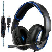 Headset Gamer Usb Digital 7.1 com Microfone Sades R7