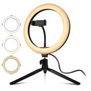 Iluminador Ring Light 10 Polegadas 120 LEDs 1000 Lúmens com Ajuste de Intensidade e Tripé Exbom ILUM-R10W12