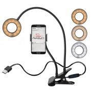 Iluminador Ring Light 3,5 Polegadas LED Dimerizável Articulado com Suporte de Celular X-CELL XC-RL-01