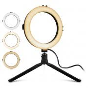 Iluminador Ring Light 8 Polegadas 78 LEDs 800 Lúmens com Ajuste de Intensidade e Tripé Exbom ILUM-R08W8