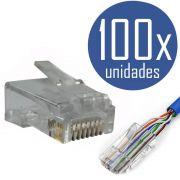 KIT 100x Conectores RJ45 CAT5e Macho para Cabo de Rede