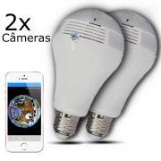 KIT 2 Câmeras IP Wi-fi Panorâmica Lâmpada V9 com Visão Noturna