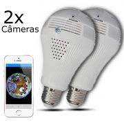 KIT 2 Câmeras IP Wi-fi Panorâmica Lâmpada VR-LP360