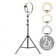 KIT 2x Iluminador Ring Light 12 Polegadas LED Dimerizável com Ajuste de Intensidade e Suporte de Celular + Tripé de 2,10 metros