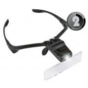 KIT 2x Lupa de Cabeça Óculos com 5 Lentes de Aumento e Luz de Led 9892B