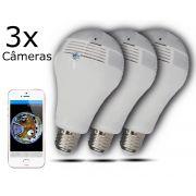 KIT 3 Câmeras IP Wi-fi Panorâmica Lâmpada V9 com Visão Noturna