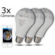 KIT 3 Câmeras IP Wi-fi Panorâmica Lâmpada VR-LP360