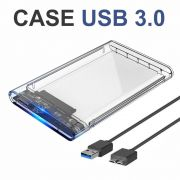 KIT 3 Cases USB 3.0 Transparente para HD Sata de 2,5