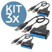 KIT 3x Cabo Adaptador Usb 3.0 para Sata com Entrada para Fonte 12v Xtrad XT2151