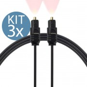 KIT 3x Cabo de Áudio Digital Óptico S/PDIF Toslink 2 Metros de Espessura Grossa