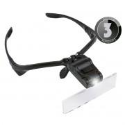 KIT 3x Lupa de Cabeça Óculos com 5 Lentes de Aumento e Luz de Led 9892B