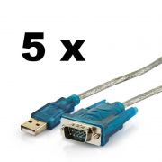 Kit 5 Cabos Conversor USB para Porta Serial RS-232 Macho