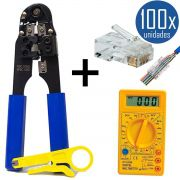 KIT Alicate de Crimpar 210c + 100x Conectores RJ45 + Multímetro DT-830B