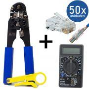 KIT Alicate de Crimpar 210c + Multímetro DT-830B + 50x Conectores RJ45