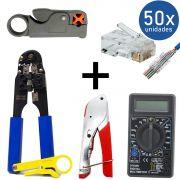 KIT Alicate de Crimpar 210c + Multímetro DT-830B Preto + Alicate p/ Crimpar Coaxial + Alicate Decapador Cabo Coaxial + 50x Conectores RJ45